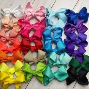 "25 Set of  3"" Bow Clip Grosgrain Ribbon"